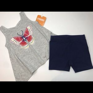 🆕NWT two piece outfit butterfly tank bike shorts